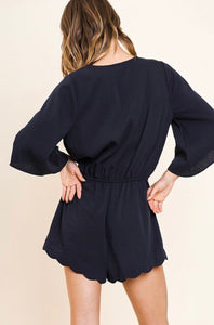 Navy Romper with Bell Sleeve