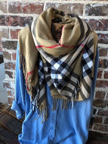 Tan, Red and Black Blanket Scarf