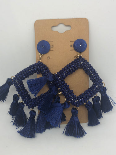 Royal Blue Tassel Beaded Earrings