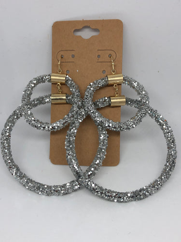 Silver Glitter Party Earrings