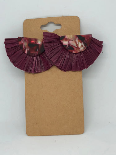 Maroon Lucite Fan Earrings