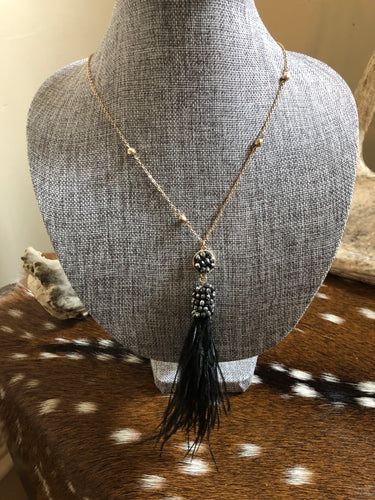 Black and Gold Beaded Feather Necklace