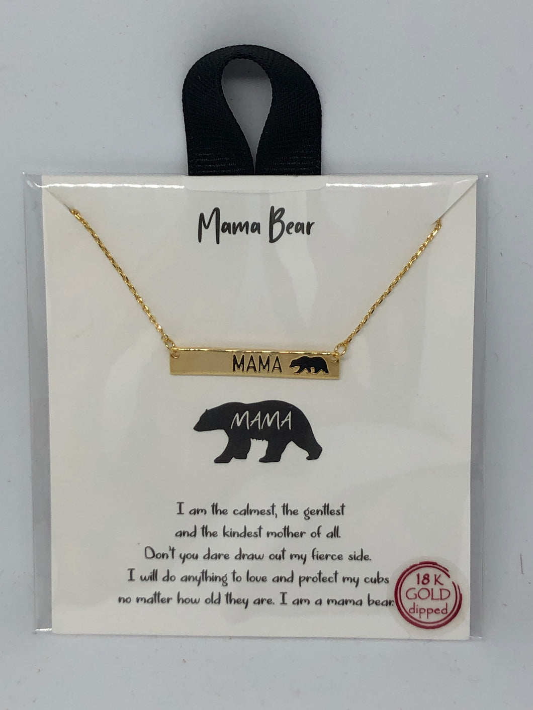 Gold Mama Bear Bar Necklace