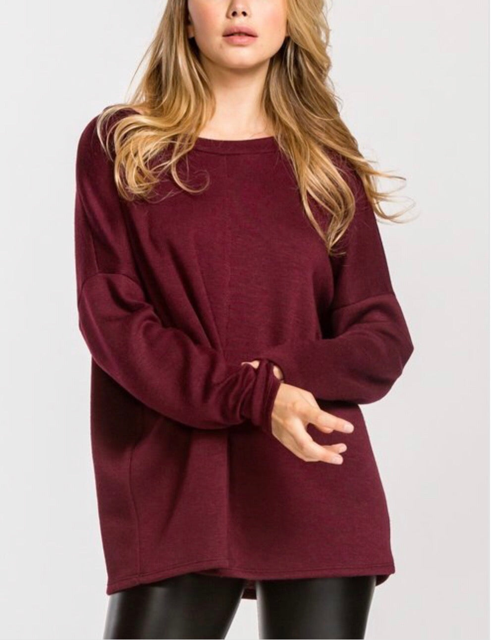 Burgundy Loose Fit Sweater