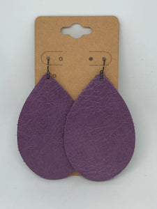Purple Leather Earrings