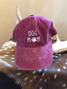 "Faded Maroon ""Dog Mom"" Hat"