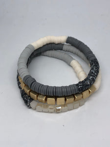 Grey, Gold and White 3 Piece Bracelet