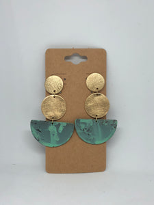 Turquoise and Gold Crescent Earrings