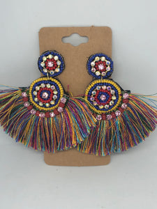 Multicolored Beaded Statement Earrings