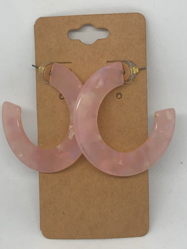 Light Pink Open Hoop Earrings