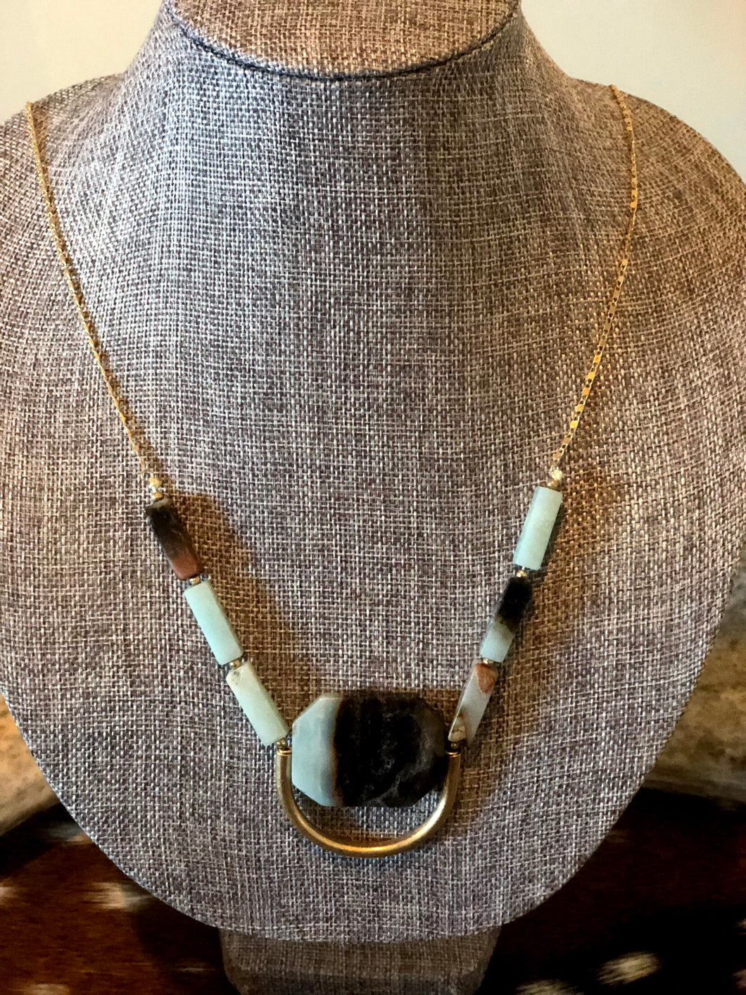 Light Blue and Brown Stone Necklace