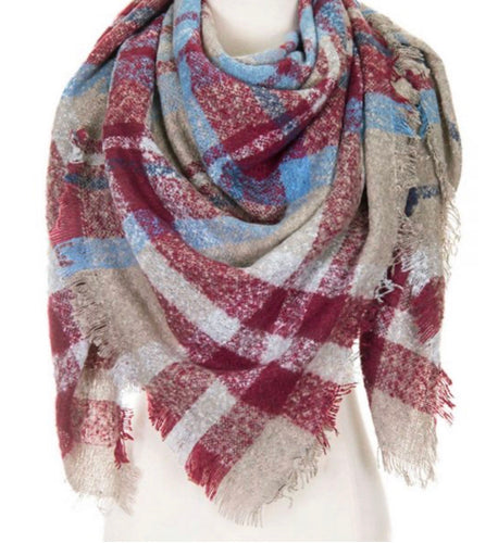 Maroon Square Plaid Fringe Edge Scarf