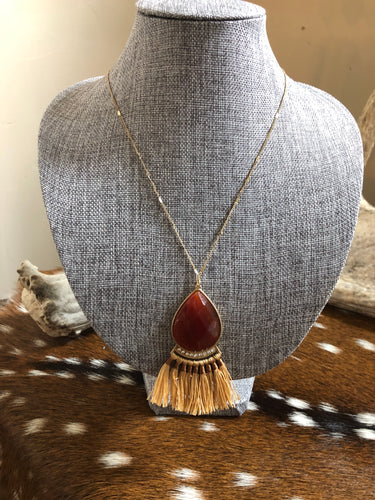 Orange and Tan Stone Necklace