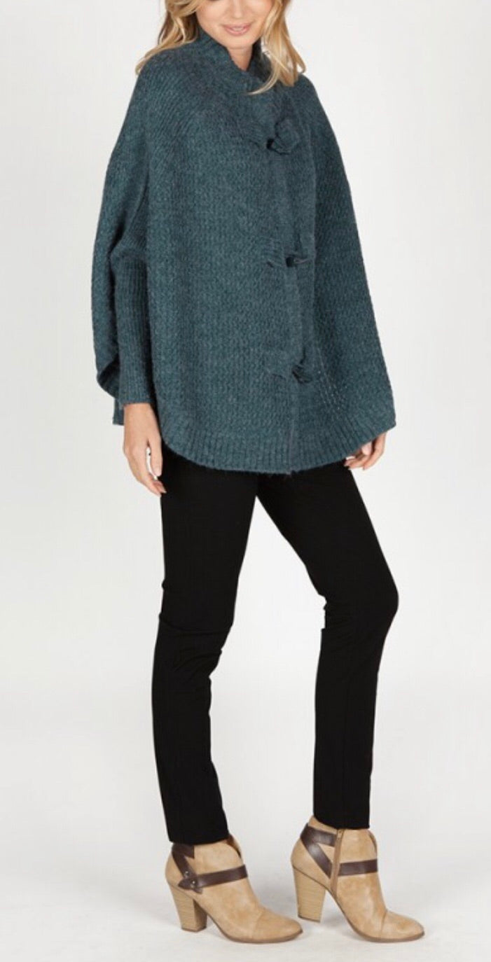 Teal Long Sleeve Sweater Jacket