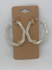 White Acrylic Flat Open Hoop Earrings