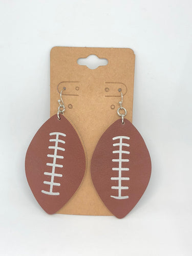 Brown Leather Football Earrings