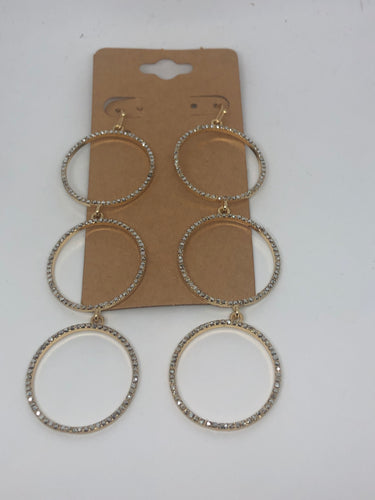 Gold Long Pave Rhinestone Earrings
