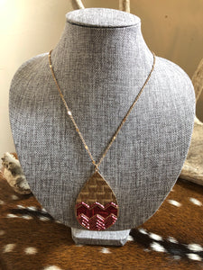 Gold and Maroon Long Necklace
