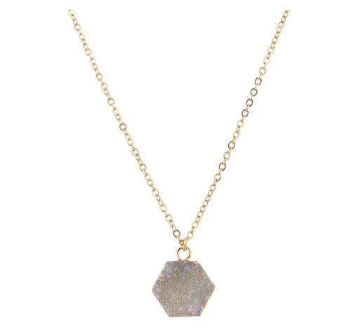 "16"" White Druzy Hexagon Necklace"