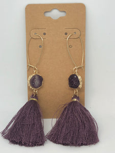 Purple Druzy Tassel Earrings