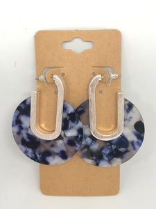 Silver and Blue Lucite Hoops
