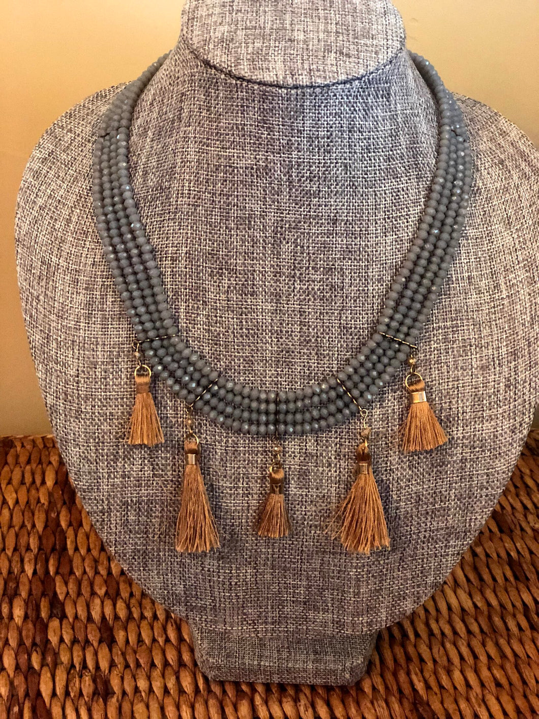 Grey and Tan Tassel Necklace