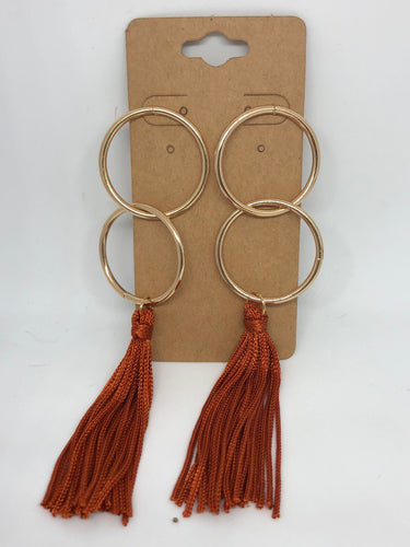 Gold and Burnt Orange Double Hoop Earrings