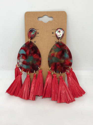 Red Tear Drop Lucite and Raffia Earrings