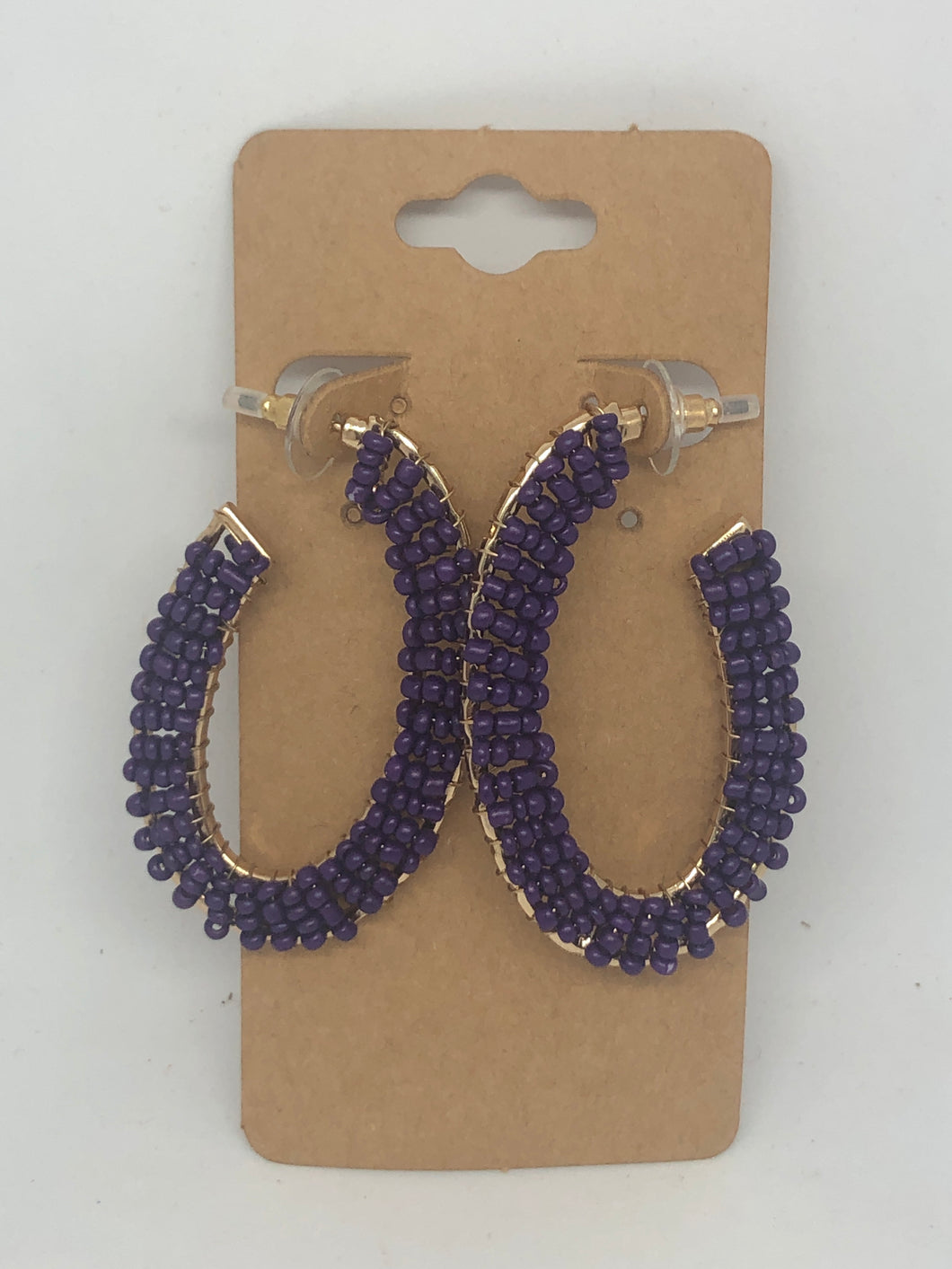 Purple Beaded Open Hoop Earrings