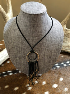 Black and Gold Long Leather Necklace