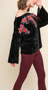 Black Off the Shoulder Crushed Velvet Top
