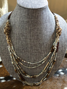 Brown and Tan Beaded Necklace