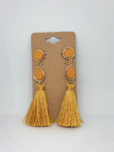 Mustard Druzy Tassel Earrings