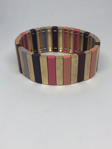 Purple, Pink and Gold Tile Bracelet