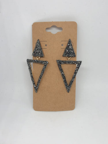 Black Rhinestone Geometric Earrings