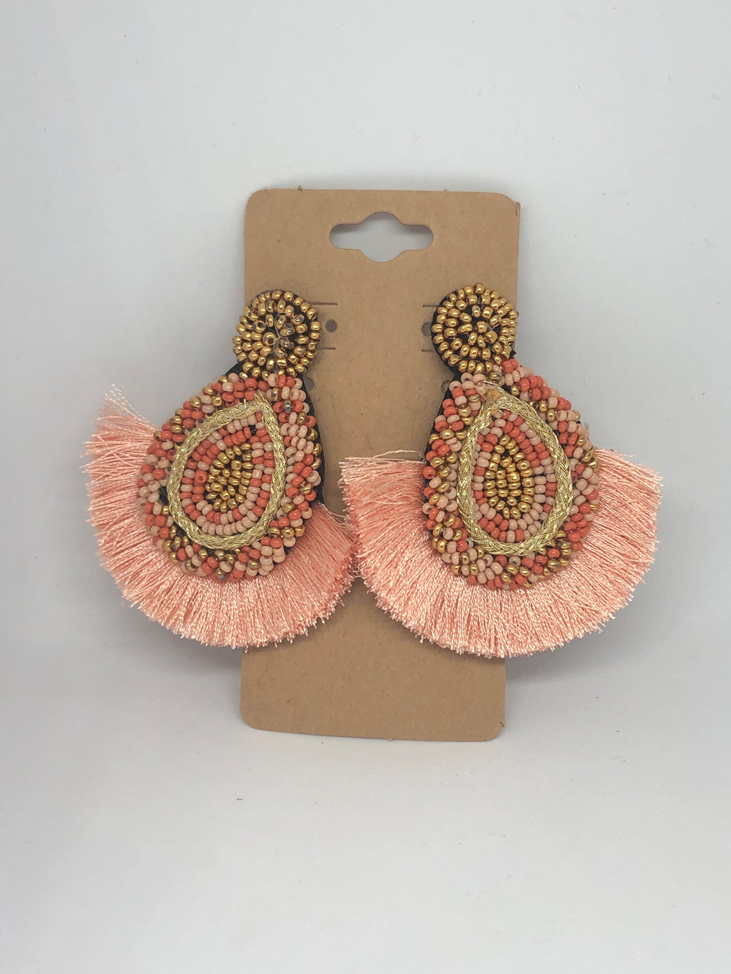 Salmon and Gold Beaded and Fringe Earrings