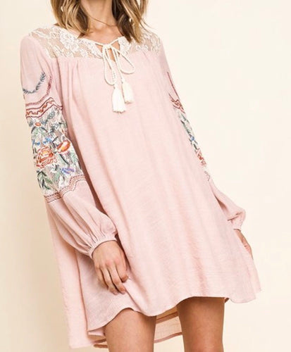 Blush Floral Embroidered Lace Dress