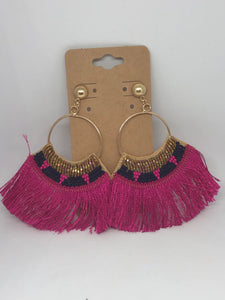 Navy and Gold Beaded Earrings with Hot Pink Fringe