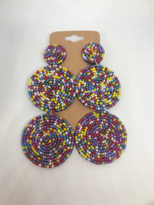 Multi Colored Double Circle Beaded Earrings