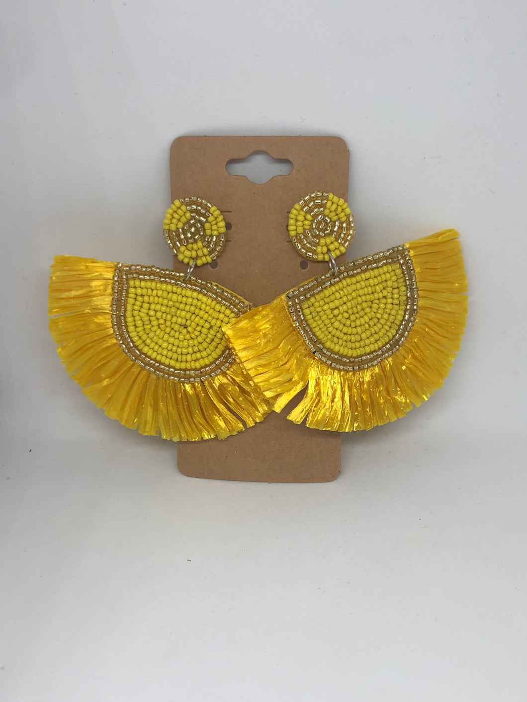 Yellow Beaded and Fringe Earrings