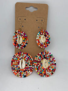 Beaded Dangle Earrings with Shells