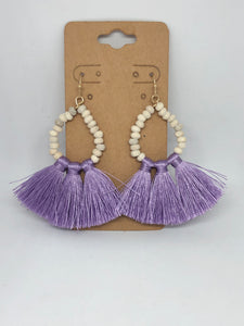 Lavender Fringe Beaded Earrings