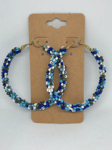 Shades of Blue Beaded Hoops