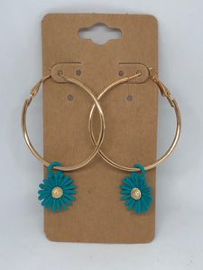 Gold Hoops with Turquoise Flower