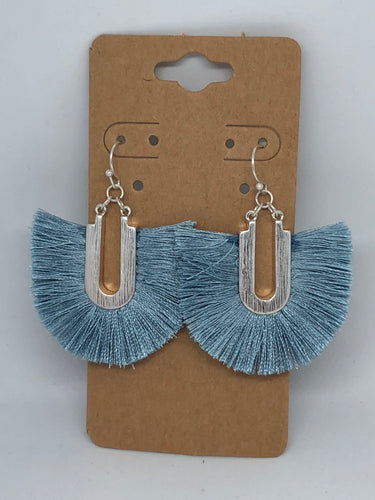 Blue and Grey Dangle Earrings