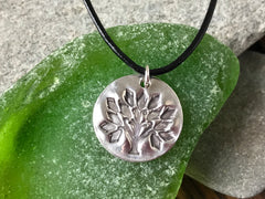Silver Circular Embossed Tree of Life Pendant on Black Leather Cord