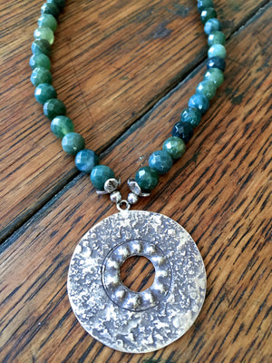 green jasper gemstone bead necklace with large round hammered silver pendant