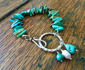 blue turquoise gemstone charm bracelet with large silver ring clasp