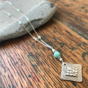 Silver Leaf Pendant Marquise Shaped with Pale Blueish Green Amazonite and White Freshwater Pearl on Amazonite Rosary Chain