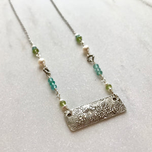 Silver Floral Bar Pendant Necklace with Peridot, Blue Quartz and White Freshwater Pearls on Silver Chain